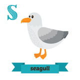 Seagull. S letter. Cute children animal alphabet in vector. Funn. Y cartoon animals. Vector illustration royalty free illustration