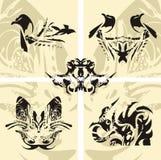 Seagull, smok, motyl, wąż - wektorowy eleme Obraz Stock