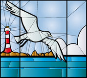 Seagull stained glass Stock Image