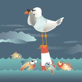 Seagull standing on the buoy and looking through. Binoculars. Vector illustration Royalty Free Stock Photo