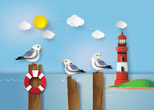 Seagull standing on a wooden post. Beside the seaside vector illustration
