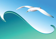 Seagull and wave. Vector. Royalty Free Stock Image