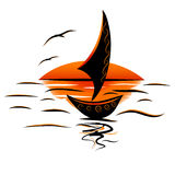 Seagulls θάλασσας sailboat Στοκ εικόνα με δικαίωμα ελεύθερης χρήσης