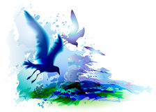 Seagulls και ωκεάνια κύματα απεικόνιση αποθεμάτων
