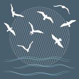 Seagulls πέρα από τα κύματα διανυσματική απεικόνιση
