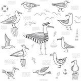 Seagulls bezszwowy wzór w etnicznym plemiennym boho stylu Obraz Stock