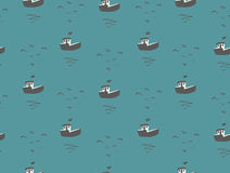 Seagulls and boats sea view seamless pattern Royalty Free Stock Photography