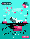 Seagulls with dead fishes and oil tank in polluted ocean infographics. Stock Images