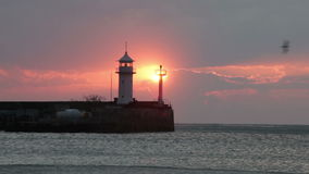 Seagulls fly over the lighthouse during sunrise. stock video footage