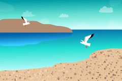 Seagulls flying over the sea vector illustration