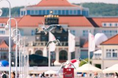 Seagulls flyingon the pier in Sopot, Poland. Royalty Free Stock Photos
