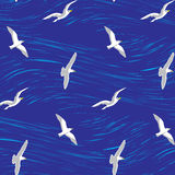 Seagulls over the sea seamless background Stock Images