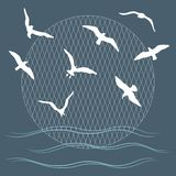 Seagulls over waves Royalty Free Stock Photo