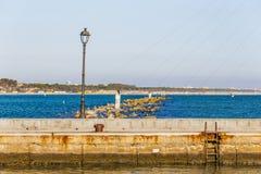 Seagulls på poler bland havet vaggar Arkivfoton