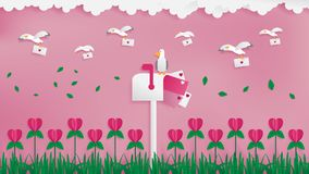 Seagulls postman sending love mail. royalty free illustration