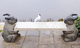 Seagulls and rabbit statues Royalty Free Stock Photography