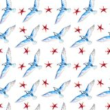 Seagulls and sea stars, hand-drawn watercolor seamless pattern on white. Royalty Free Stock Images