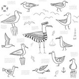 Seagulls seamless pattern in ethnic tribal boho style Stock Image