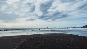 Seagulls soar over the black volcanic sand beach and the beautiful sea.