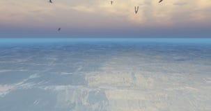 Seagulls som 4k flyger över havvatten, ytbehandlar på skymning stock illustrationer