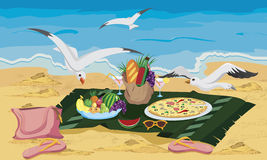 Seagulls are trying to steal food. Left on the beach  illustration Royalty Free Stock Images