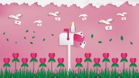 Seagullsbrevbärare som överför förälskelsepost royaltyfri illustrationer