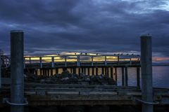 Seaguls sul bacino con il fondo di tramonto fotografie stock