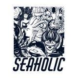 Seaholic Vector плакат нарисованный рукой с надписью и иллюстрация водолаза, русалки, рта с рыбами, раковиной nautilus, раком иллюстрация штока
