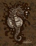 seahorse συρμένος εικονογράφος απεικόνισης χεριών ξυλάνθρακα βουρτσών ο σχέδιο όπως το βλέμμα κάνει την κρητιδογραφία σε παραδοσι Διανυσματική απεικόνιση