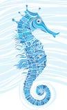 Seahorse blu del mosaico Illustrazione Vettoriale
