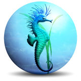 Seahorse on Bubble. A funny little seahorse on his water bubble Stock Photos