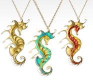 Seahorse dell'oro tre Immagine Stock Libera da Diritti