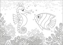Seahorse en Butterflyfish onder koralen Royalty-vrije Stock Foto's