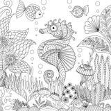 Seahorse en koraal royalty-vrije illustratie