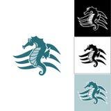 Seahorse en la onda del logotipo Fotos de archivo libres de regalías