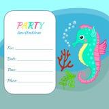 Seahorse för mall för kort för inbjudan för barnfödelsedagparti färgrik Fotografering för Bildbyråer