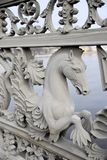 Seahorse on the fence of the bridge stock photo