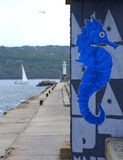 Seahorse graffiti on breakwater Royalty Free Stock Photo