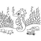 Seahorse het kleuren pagina'svector Royalty-vrije Stock Afbeeldingen