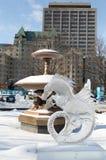 Seahorse ice sculpture at Ottawa`s Winterlude Stock Image