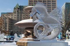 Seahorse ice sculpture at Ottawa`s Winterlude Stock Images