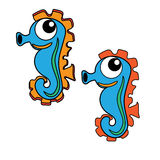 Seahorse icon cartoon design abstract illustration animal. Sea​horse sea art backdrop cartoon decorative design graphic icon illustration Royalty Free Stock Image