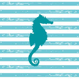 Seahorse Illustration. Illustration of a seahorse silhouette in a teal color with blue and white stripped background Stock Illustration