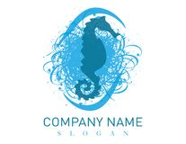 Seahorse logo na białym tle Fotografia Stock