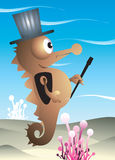A seahorse magician. Swimming alone in waves with his magic stick Royalty Free Stock Photography