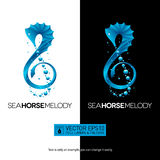 Seahorse music concept with treble clef.  vector illustr Stock Photography