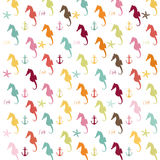 Seahorse Pattern. Illustration pattern of colorful seahorse silhouettes on a white background with anchors, and seashells Royalty Free Illustration