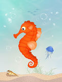 Seahorse on reef vector illustration