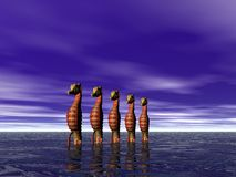 Seahorse row Royalty Free Stock Photo
