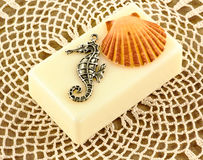 Seahorse seashell and soap Royalty Free Stock Photography